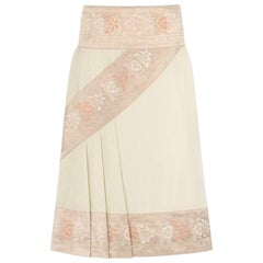 "ALEXANDER McQUEEN S/S 2005 ""It's Only A Game"" Cream Cotton Brocade Detail Skirt"
