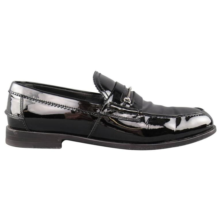 81e53ebc05b Men s GUCCI Loafers - Size 10.5 Black Patent Leather Horsebit Dress Shoes  For Sale