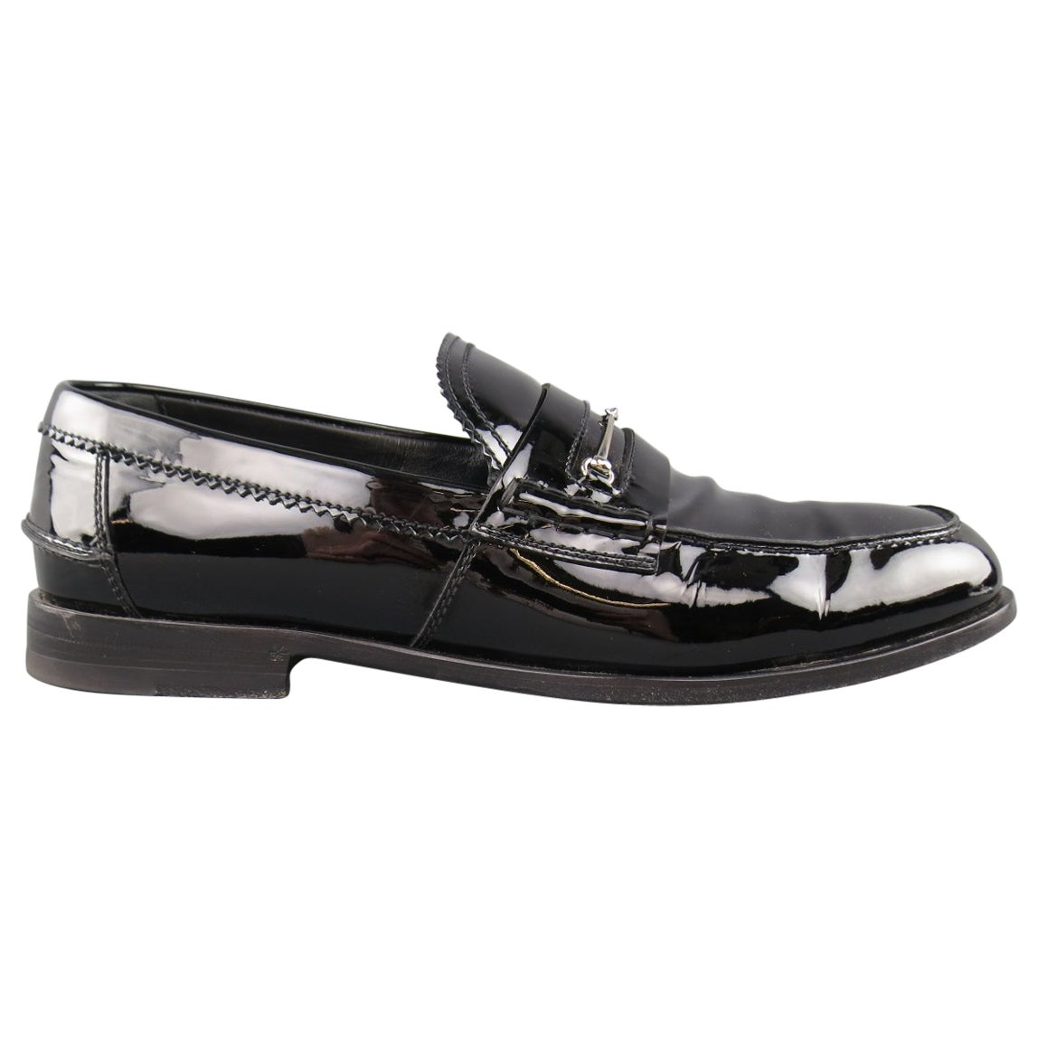 14441030b Men's GUCCI Loafers - Size 10.5 Black Patent Leather Horsebit Dress Shoes  at 1stdibs