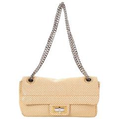 Chanel Beige Leather Perforated Drill Flap Bag