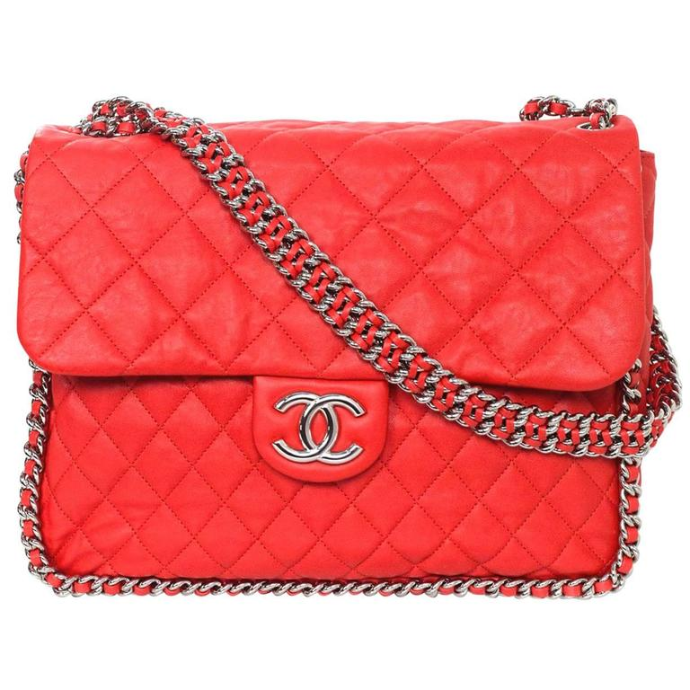 e9420979c4c4 Chanel Coral Red Quilted Chain Around Maxi Bag NIB For Sale at 1stdibs