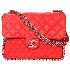 Chanel Coral Red Quilted Chain Around Maxi Bag NIB