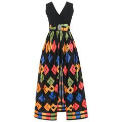 Modern c.1960's Black Jumpsuit + Multicolor Geometric Print Skirt Overlay