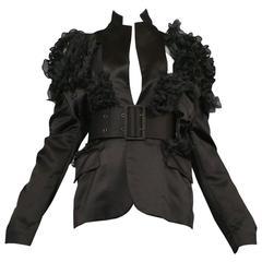 Comme des Garcons Black Satin Ruffle Blazer 2007