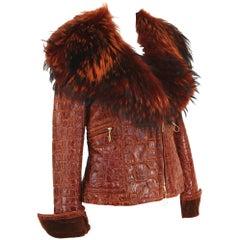 New Iconic Gianfranco Ferre 1993 Croc Embossed Shearling Lamb Cognac Fur Jacket