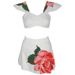 1948 Catalina Documented Pink Roses Cotton Flutter-Sleeve Swimsuit Playsuit
