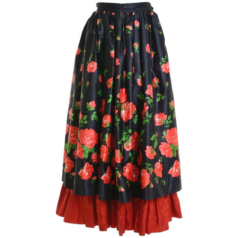 1980s Saint Laurent Rive Gauche Silk Floral Print Maxi Skirt