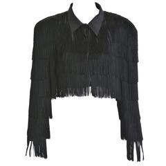 1980s NORMA KAMALI Black Fringes Bolero Jacket