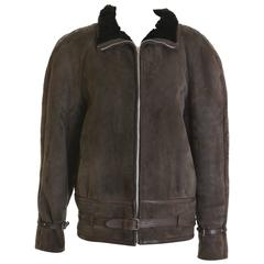 1980s GIANNI VERSACE Brown Sheepskin Leather Jacket