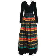 1980s Italian Couture Velvet Silk Striped Long Dress