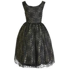 1950s Vintage Black Lace Cocktail Dress