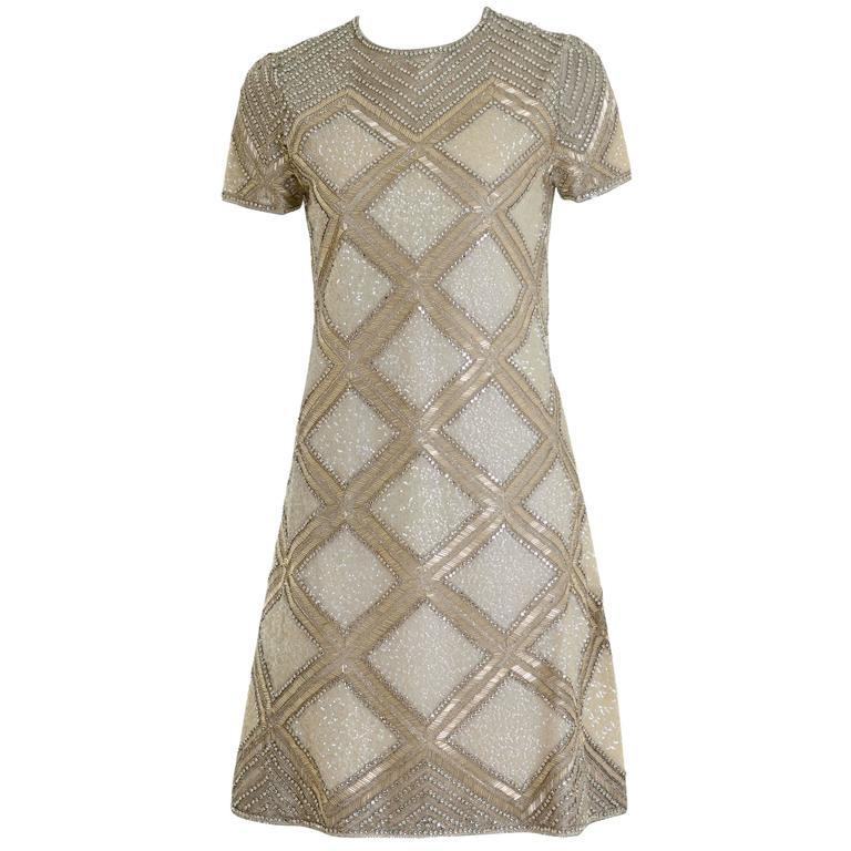1960s MILA SCHÖN Italian Couture Silver Sequins Cocktail Mod Mini Dress