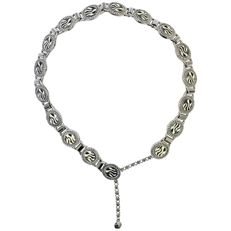 Gianni Versace 1990s zebra print metal belt with diamantes