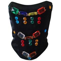 Rare Ella Singh Bustier Top With Multicolored Stones