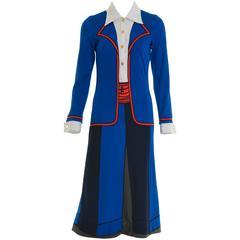 1970s ROBERTA di CAMERINO Trompe l'Oeil Jersey Long Dress