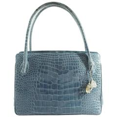 Darby Scott Blue Crocodile Shoulder Bag with Charm