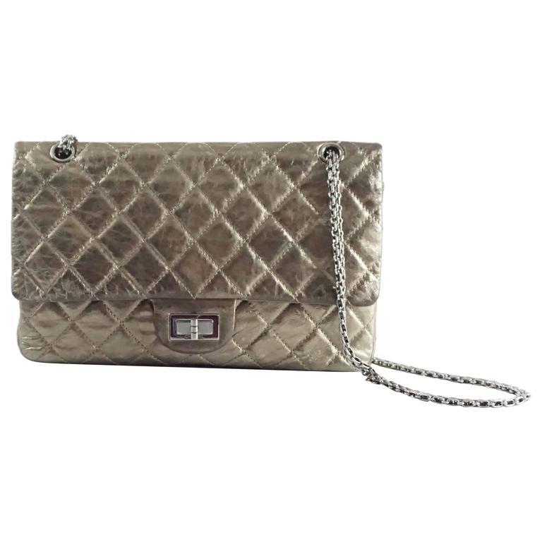Chanel Pewter 2.55 Reissue 227 Double Flap Bag - 2006  For Sale