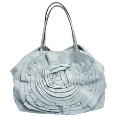 Valentino Pale Blue Large Leather Petale Rose Tote