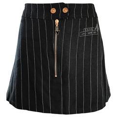 "1990s Jean Paul Gaultier ""Safe Sex"" Black and White Pinstripe 90s Mini Skirt"