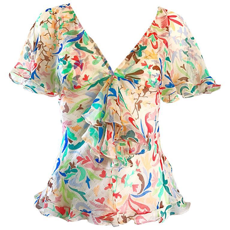 1990s Missoni Vintage Silk Chiffon Swirl Heart Print Flutter Ruffle Blouse Top