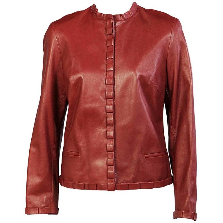 Carolina Herrera Burgundy Leather Jacket  1