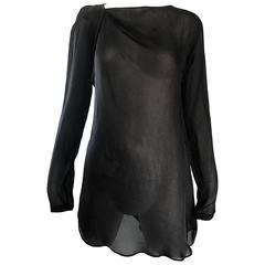 Vintage Halston Black Chiffon Black Semi Sheer Asymmetrical Tunic Top Blouse