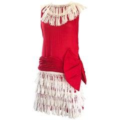 Rare 1960s Does 1920 Red + White Fringe Cotton Drop Waist Flapper 20s Dress