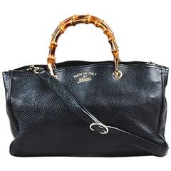 "Gucci Black Pebbled Leather Top Handle ""Exclusive Bamboo Shopper"" Bag"