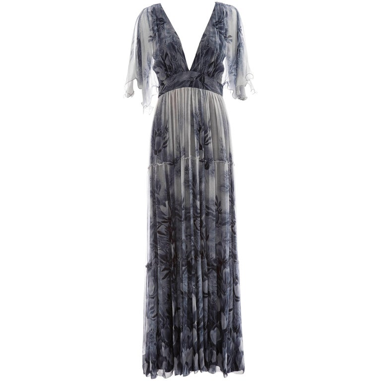 Vicky Tiel Giorgio Beverly Hills Floral Silk Chiffon Evening Dress, Circa 1980's For Sale