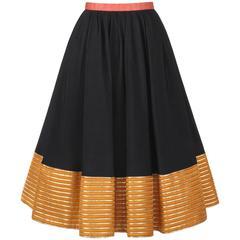GEOFFREY BEENE c.1970's Black Silk Faille Metallic Gold Detail Skirt