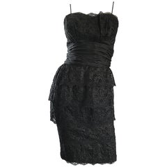 Gorgeous 1950s Demi Couture Black Silk Eyelet and Lace Vintage 50s Wiggle Dress