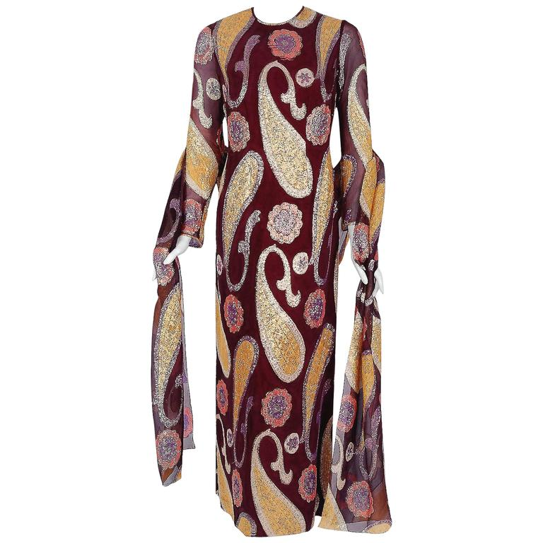 1968 Arnold Scaasi Couture Metallic Paisley Motif Silk Long-Sleeve Gown & Shawl