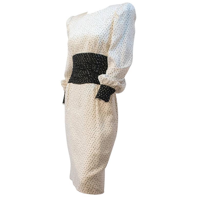 80s Carolina Herrera Dot Dress For Sale