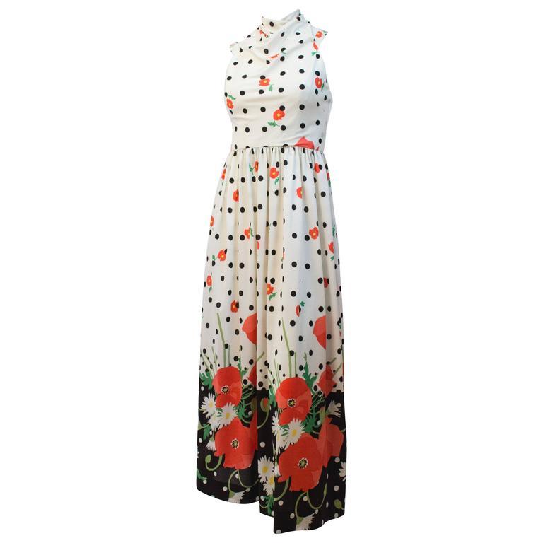 80s Oscar de la Renta Printed Halter Dress