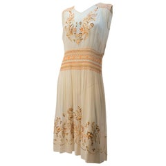 20s Smocked Dress w/ Embroidery