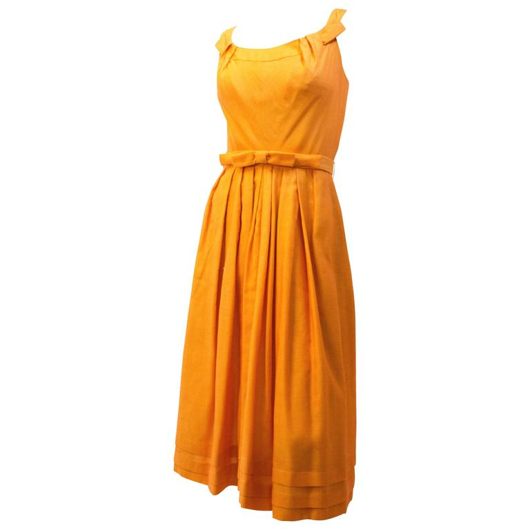 50s Two-Tone Orange Day Dress