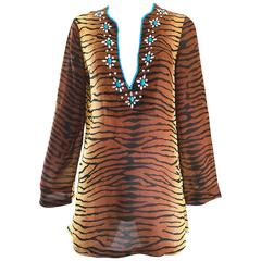 1990s Michael Kors Collection Tiger Zebra Print Beaded Silk Chiffon Tunic Top