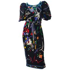 80s Leonard Abstract Print Puff Sleeve Dress
