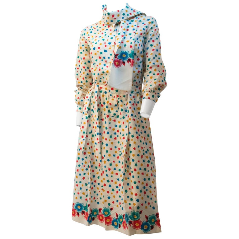 70s Lanvin Flower & Leaf Print Dress For Sale