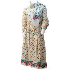 80s Lanvin Flower & Leaf Print Dress
