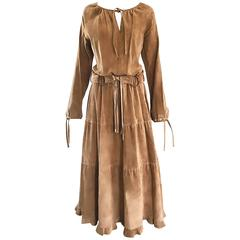 1970s Leather Suede Tan Brown Boho Belted Vintage 70s Long Sleeve Maxi Dress 8