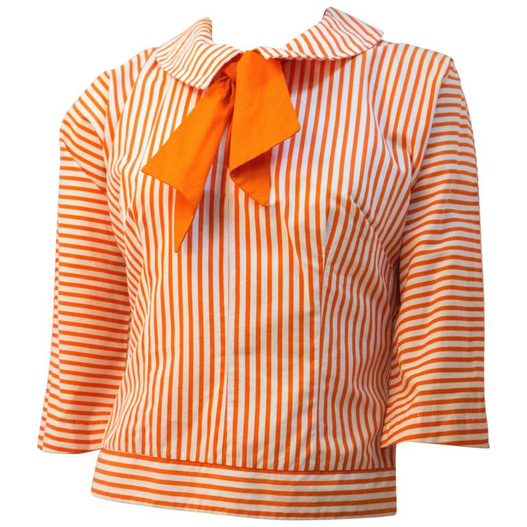 60s Orange and White Striped Sailor Top.