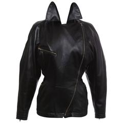 Azzedine Alai Black Zip Front Lambskin Leather Jacket , Circa 1986