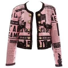 Moschino Couture Newspaper Print Jacket With Smiley Face Buttons, Circa 1983