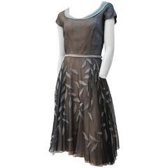 50s Layered Chiffon Dress w/ Leaf Applique Skirt