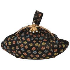 30s Black Brocade Handbag w/ Metallic Threads
