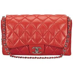 Chanel Red Quilted Lambskin Flap Bag