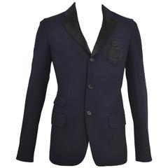 Alexander McQueen Navy Blue Houndstooth Blazer with Embroidered and Beaded Badge