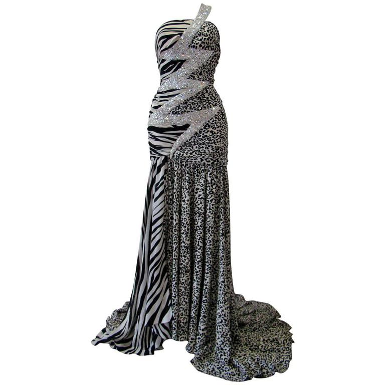 Pierre Balmain Leopard And Zebra Print Silk Evening Gown 1