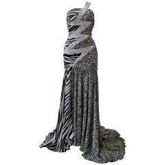 Pierre Balmain Leopard And Zebra Print Silk Evening Gown